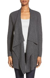 Eileen Fisher Long Drape Front Cashmere Cardigan Charcoal