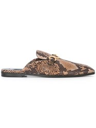 Stella Mccartney Horsebit Snakeskin Effect Loafers Brown