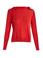 Simone Rocha Bow Detail Fine Knit Sweater Red