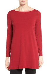Eileen Fisher Petite Women's Jersey Bateau Neck Tunic China Red