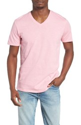 The Rail Men's Slub Cotton V Neck T Shirt Pink Adobe