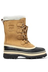 Sorel Caribou Fleece Trimmed Nubuck And Rubber Snow Boots Tan