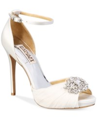 Badgley Mischka Tad Peep Toe Evening Sandals Women's Shoes White