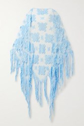 Miguelina Majandra Fringed Crocheted Cotton Shawl Light Blue