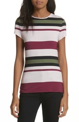 Ted Baker London Imperial Stripe Fitted Tee Dusky Pink