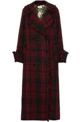 Ainea Woman Double Breasted Frayed Metallic Tweed Coat Red
