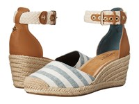Sperry Valencia Canvas Blue White Stripes Women's Wedge Shoes Multi
