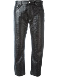 Maison Martin Margiela Mm6 Textured Cropped Trousers Black