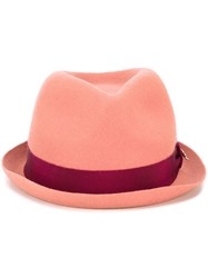 Dsquared2 Strap Brim Fedora Pink Purple