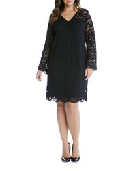 Karen Kane Plus Crocheted Overlay Dress Black