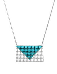 Lord And Taylor Envelope Shaped Pendant Necklace Blue