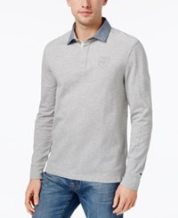 Tommy Hilfiger Men's Heathered Cotton Rugby Shirt Silver Heather