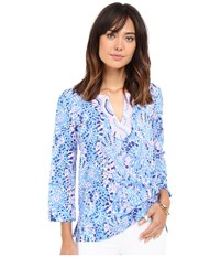 Lilly Pulitzer Amelia Island Tunic Multi Tic Tac Tile All Over Women's Blouse Blue