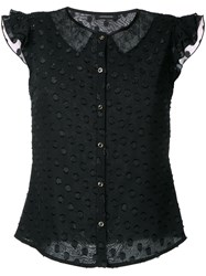 Loveless Lace Panel Cap Sleeve Blouse Women Polyester 34 Black