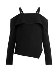 Tibi Cold Shoulder Asymmetric Crepe Top Black