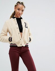 Pull And Bear Pullandbear Varsity Jacket In Teddy Fur In Cream Cream