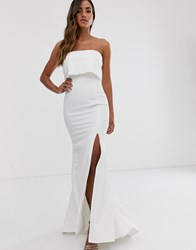 Jarlo Bandeau Overlay Maxi Dress In Ivory White