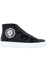 Versus By Versace Embellished Croc Effect Patent Leather High Top Sneakers Black
