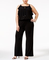 Inc International Concepts Plus Size Ruffled Wide Leg Jumpsuit Only At Macy's Black
