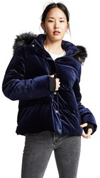 Jocelyn Velvet Down Puffer Jacket Navy