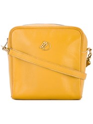 Hermes Vintage Horse Logos Shoulder Bag Yellow And Orange