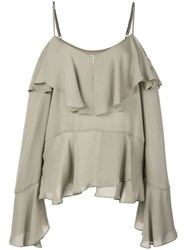 Nicole Miller Ruffled Off Shoulder Blouse Grey