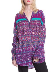 Plenty By Tracy Reese Tribal Henley Tunic Confetti