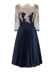 Chi Chi London Embroidered Bodice Midi Dress Navy