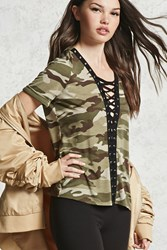 Forever 21 Camo Print Lace Up Tee Olive Sage