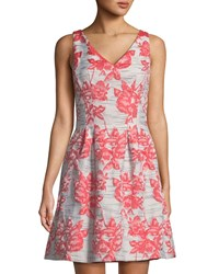Donna Ricco Embroidered Fit And Flare Sleeveless Dress Coral