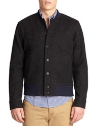 Jack Spade Stretch Wool Herringbone Varsity Jacket Black Herringbone
