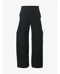 Jacquemus Wide Leg Pinstripe Trousers Grey Black White