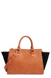 Sole Society 'Bridgette' Winged Faux Leather And Faux Suede Satchel Brown Cognac Black