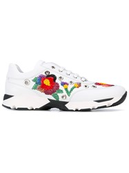 Philipp Plein Embroidered Flowers Sneakers Women Leather Rubber 39 White