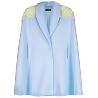 Veil London Baby Blue Short Velvet Hand Beaded Cape
