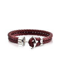 Forzieri Men's Bracelets Light Brown Leather Men's Bracelet W Anchor