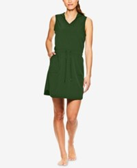 Gaiam Mia Woven Sleeveless Hoodie Dress Green