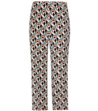 Prada Printed Cropped Silk Trousers Multicoloured