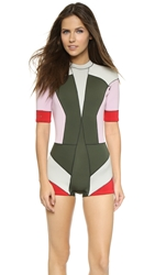 Cynthia Rowley Short Sleeve Colorblock Wetsuit Pink Combo