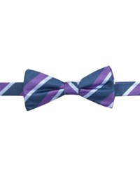 Countess Mara Repp Stripe Pre Tied Bow Tie Purple
