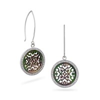 Vixi Jewellery Silver And Black Shell Statement Earrings Grey