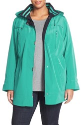 Plus Size Women's Gallery Two Tone Silk Look Anorak Jungle Green