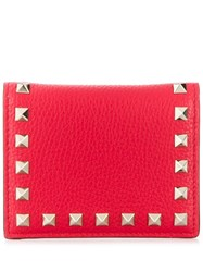 Valentino Rockstud French Wallet Red