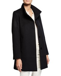 Fleurette Cashmere Wool One Button Car Coat Blue