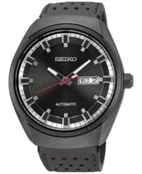 Seiko Men's Automatic Recraft Black Perforated Leather Strap Watch 44Mm Snkn45