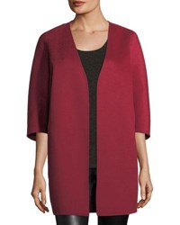 Neiman Marcus Luxury Double Faced Cashmere Cocoon Coat Claret