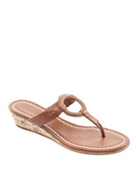 Bernardo Matrix Leather Wedge Thong Sandals Luggage