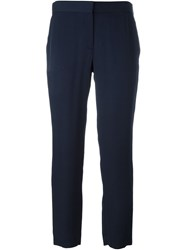 Theory Elastic Waistband Cropped Trousers Blue