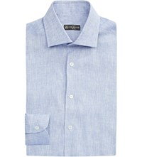 Corneliani Slim Fit Linen Shirt Mid Blue