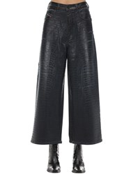 Diesel D Luite Croc Coated Denim Wide Leg Jeans Black